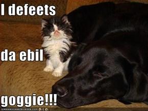 I defeets da ebil goggie!!!