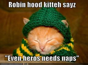 "Robin hood kitteh sayz  ""Even heros needs naps"""