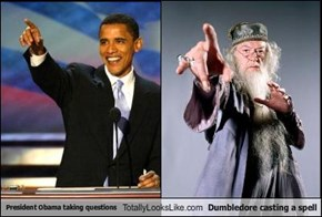 President Obama taking questions Totally Looks Like Dumbledore casting a spell