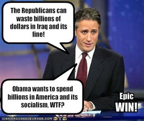 The Republicans can waste billions of dollars in Iraq and its fine!