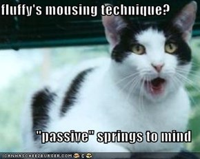 "fluffy's mousing technique?  ""passive"" springs to mind"