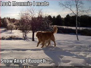 Look Mommie I made  Snow Angel Puppeh