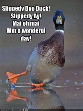 Slippedy Doo Duck!Slippedy Ay!Mai oh maiWut a wonderul day!