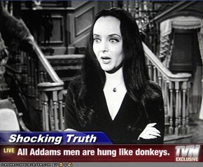 Shocking Truth - All Addams men are hung like donkeys.