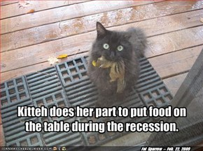 Kitteh does her part to put food on the table during the recession.