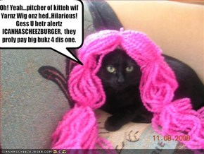 Oh! Yeah...pitcher of kitteh wif Yarnz Wig onz hed..Hilarious!   Gess U betr alertz ICANHASCHEEZBURGER,  they proly pay big bukz 4 dis one.