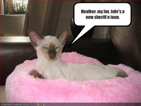Heather, my luv, tehr's a new sheriff n toun.