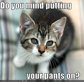 Do you mind putting  your pants on?