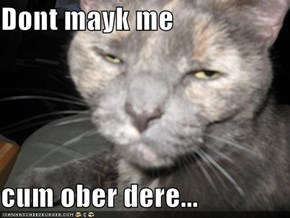 Dont mayk me  com ober dere...