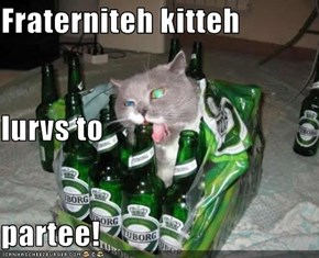 Fraterniteh kitteh lurvs to partee!