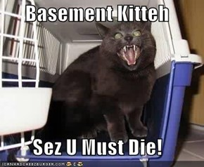 Basement Kitteh  Sez U Must Die!