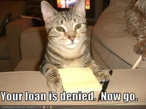 Your loan is denied.  Now go.