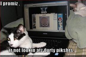 I promiz ,   iz not lookin atz durty pikshrs.