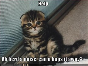 Help  Ah herd a noise, can u hugs it away?