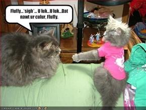 Fluffy...*sigh*... U luk...U luk...Dat nawt ur culur, Fluffy.