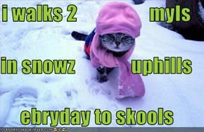 i walks 2                  myls  in snowz              uphills ebryday to skools