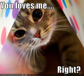 You loves me....  Right?