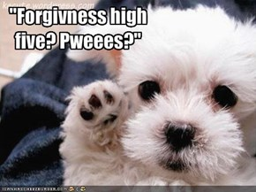 """Forgivness high five? Pweees?"""