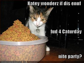 Katey wonderz if dis enuf fud 4 Caturday nite party?