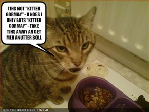 "TIHS NOT ""KITTEH GORMAY"" - U NOES I ONLY EATS ""KITTEH GORMAY"" - TAKE TIHS AWAY AN GET MEH ANUTTER BOLL"
