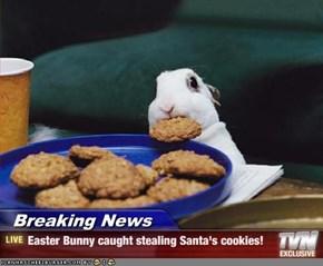 Breaking News - Easter Bunny caught stealing Santa's cookies!