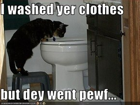 I washed yer clothes  but dey went pewf...