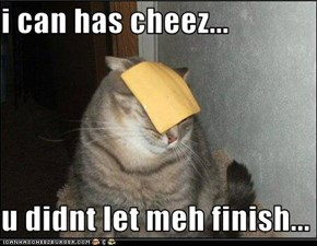 i can has cheez...  u didnt let meh finish...