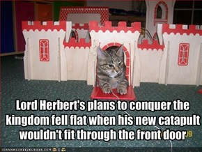 Lord Herbert's plans to conquer the kingdom fell flat when his new catapult wouldn't fit through the front door