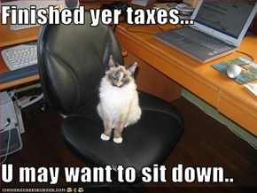 Finished yer taxes...  U may want to sit down..