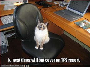 k.  next timez will put cover on TPS report.