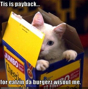 Tis is payback...  for eatzin da burgerz wisout me.