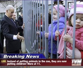 Breaking News - Instead of putting animals in the zoo, they are now putting children! More at 11.