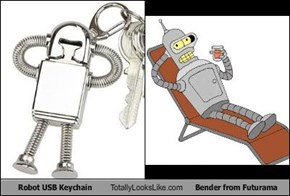 Robot USB Keychain Totally Looks Like Bender from Futurama