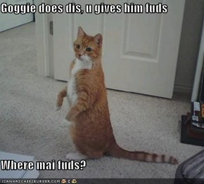 Goggie does dis, u gives him fuds  Where mai fuds?