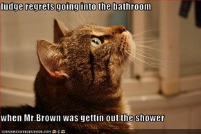 fudge regrets going into the bathroom   when Mr.Brown was gettin out the shower