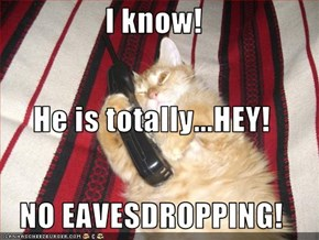 I know! He is totally...HEY! NO EAVESDROPPING!