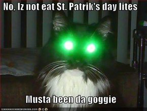 No, Iz not eat St. Patrik's day lites  Musta been da goggie