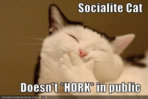 Socialite Cat  Doesn't *HORK* in public