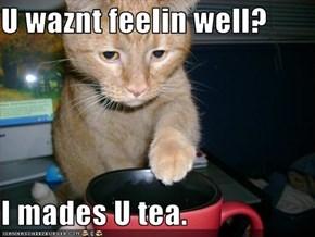 U waznt feelin well?  I mades U tea.