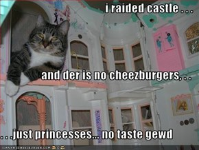i raided castle . . .  and der is no cheezburgers, . .  . . .just princesses... no taste gewd