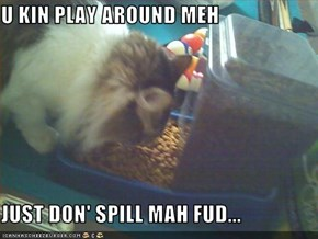 U KIN PLAY AROUND MEH  JUST DON' SPILL MAH FUD...