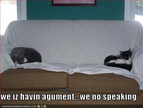 we iz havin agument...we no speaking