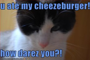 u ate my cheezeburger!  how darez you?!