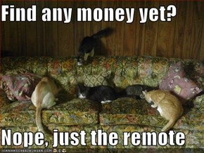 Find any money yet?  Nope, just the remote