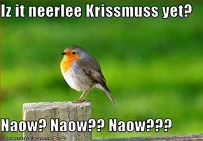 Iz it neerlee Krissmuss yet?  Naow? Naow?? Naow???