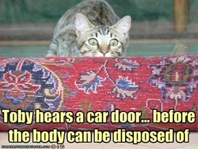 Toby hears a car door... before the body can be disposed of