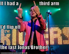 If I had a                     third arm I'd flip off the last Jonas Brother!
