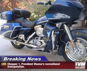 Breaking News - Chopper 1. President Obama's recreational transpotation.