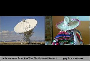 radio antenna from the VLA Totally Looks Like guy in a sombrero