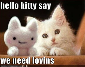 hello kitty say  we need lovins